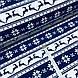 Ткань хлопковая новогодняя, олени и снежинки на синей и белой полоске, фото 2