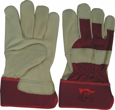Перчатки кожаные защитные с красным жестким манжетом
