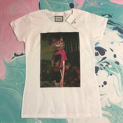 Белая футболка Gucci Cat. Люкс . Все размеры, фото 2