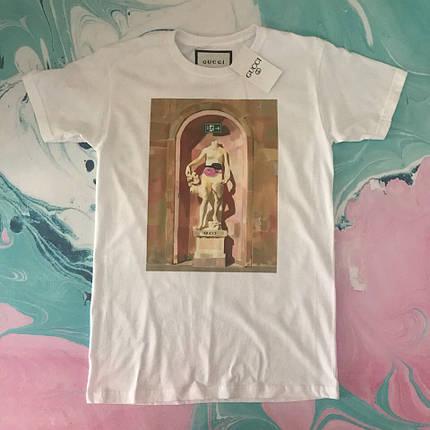 Белая крутая Gucci. Мужские и женские футболки, фото 2