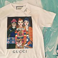 Gucci Fashion girls. Белая футболка женская