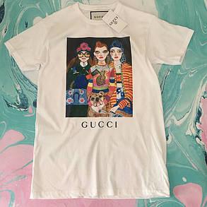 Gucci Fashion girls. Белая футболка женская, фото 2