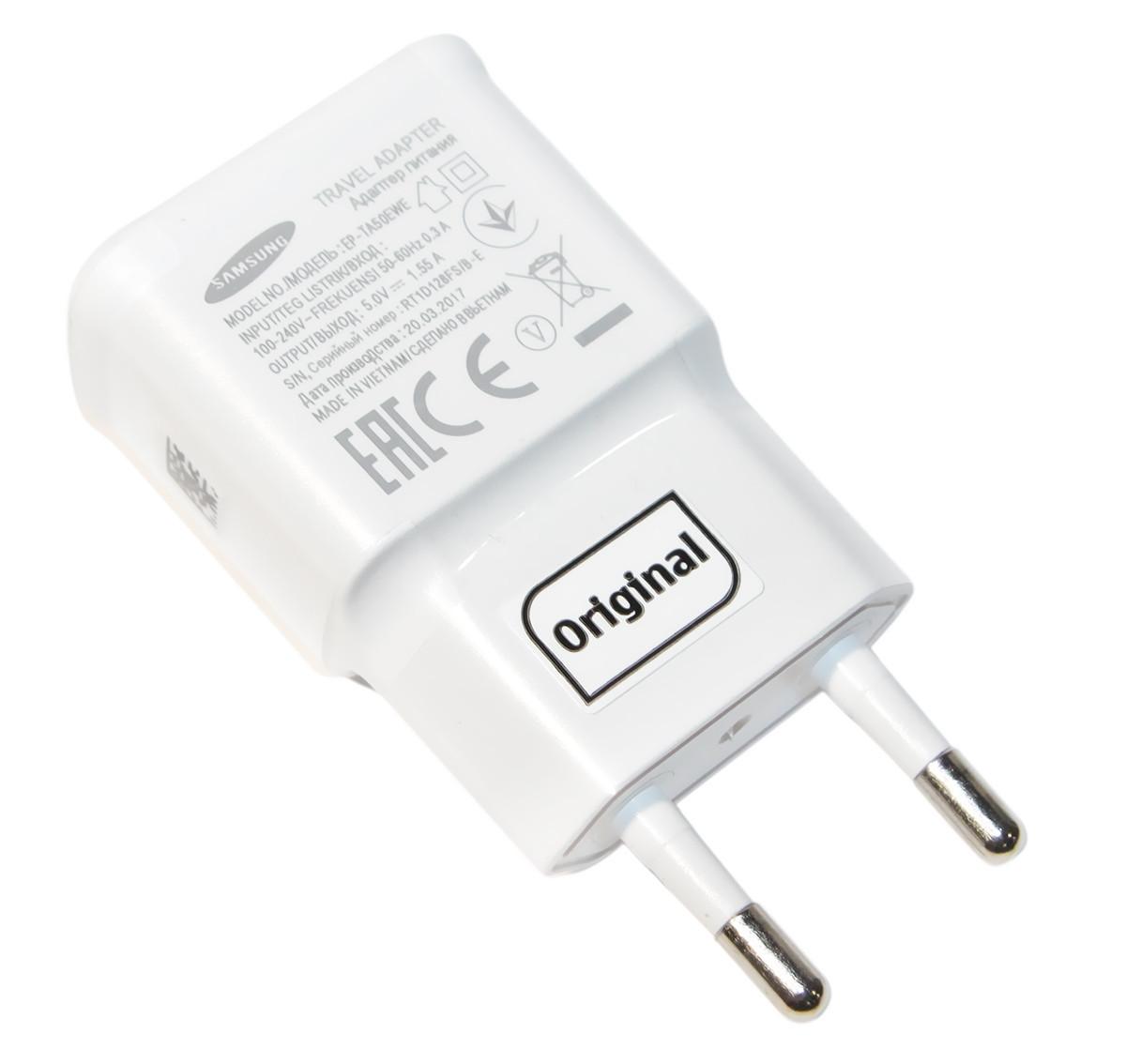 Зарядное устройство Samsung Travel Adapter, White, 1xUSB, 5V / 2A, Bulk (EP-TA50EWE), зарядка для смартфона, телефона