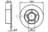 Тормозной диск задний  Ауди, Шкода, Фольксваген (пр-во BOSCH 0986478132)
