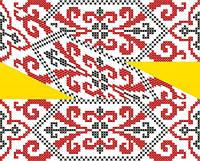 """Схема для вышивки на водорастворимом флизелине """"Орнамент красно-черный"""", фото 1"""