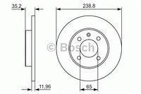 Тормозной диск передний  Ауди, Сиат, Фольксваген (пр-во BOSCH 0986479825)