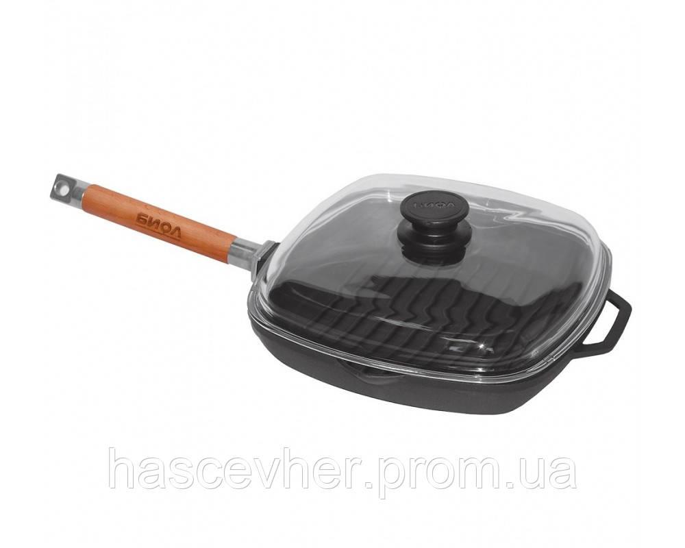 Сковорода-гриль чавунна зі скляною кришкою 28 см