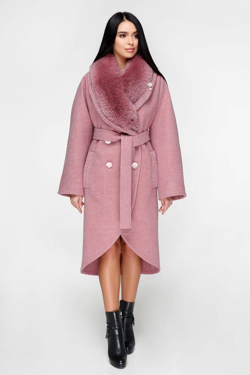 Пальто зимове жіноче з натуральним хутром сірий d1d5e37bf351b