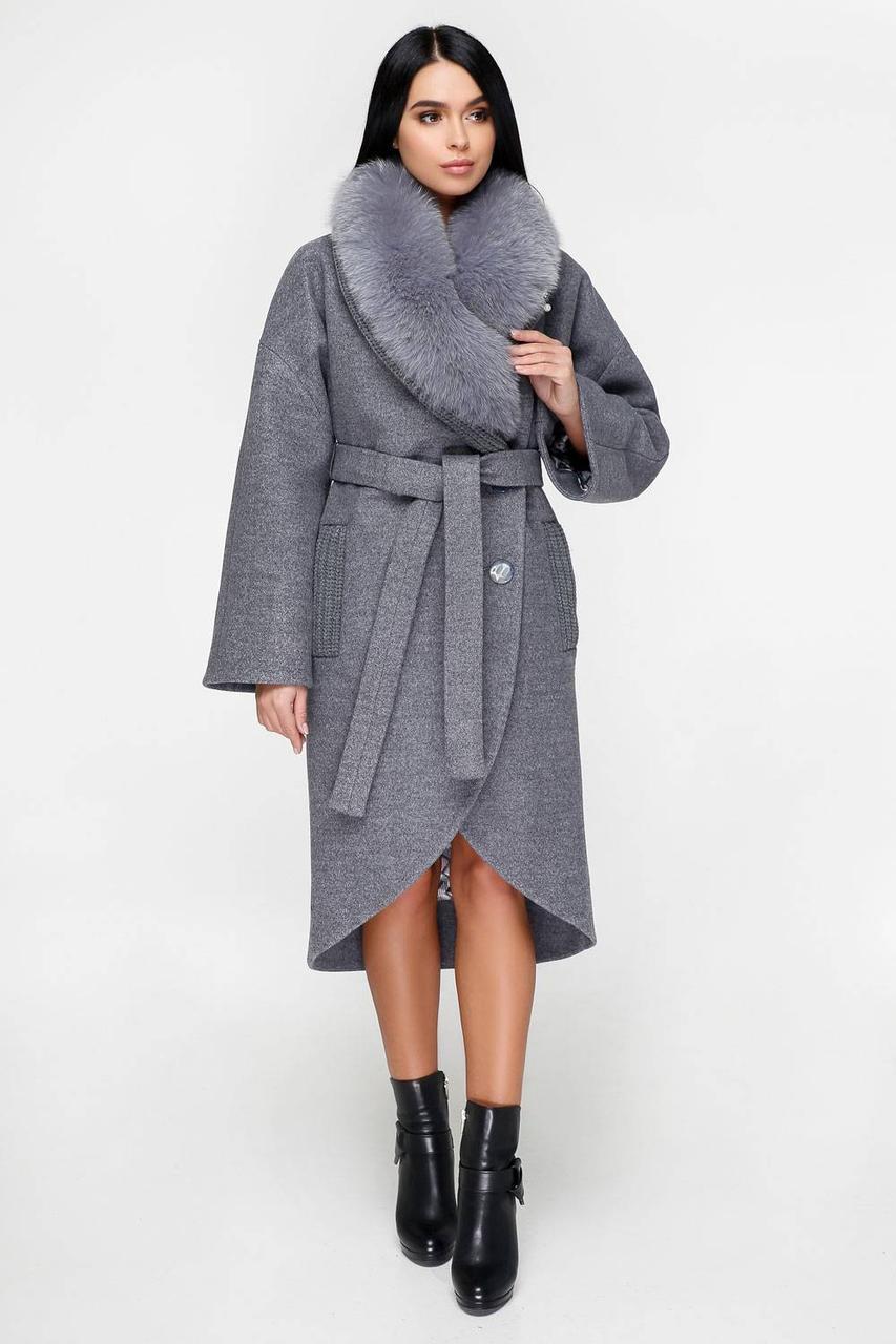 Пальто зимове жіноче з натуральним хутром розовий 577df87fb5744