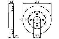 Тормозной диск передний  Форд, Мазда (пр-во BOSCH 0986478892)