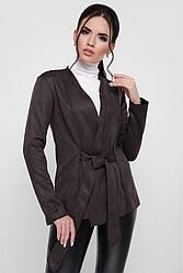 """Стильный женский замшевый пиджак на запах с поясом """"Virginia"""" черный"""