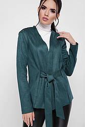 """Модный женский пиджак с поясом из экозамши """"Virginia"""" темно-зеленый"""