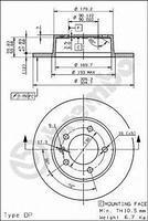 Тормозной диск задний  Ниссан, Опель, Рено (пр-во BREMBO 08.9371.10)