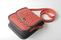 Женская кожаная сумка ручной работы (метод горячего тиснения), красная сумка, фото 1