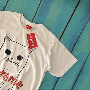 Supreme Cat Футболка | Бирки Фотки живые | Суприм белая, фото 2