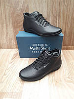 Мужские Зимние Ботинки в стиле Ecco Classic Leather кожаные черные с мехом 8c4b91366c07d