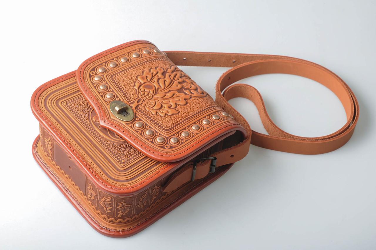 edb66dce6923 Женская кожаная сумка ручной работы с металом - HandWork Studio - Интернет  магазин карпатских изделий в
