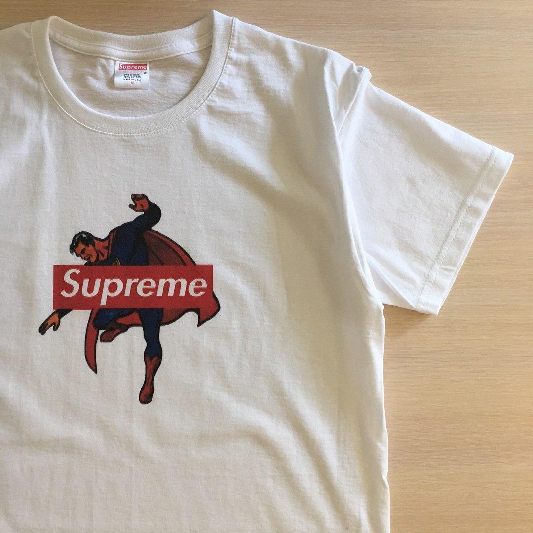Футболка Supreme | Бирка ориг | Мужская белая Superman print