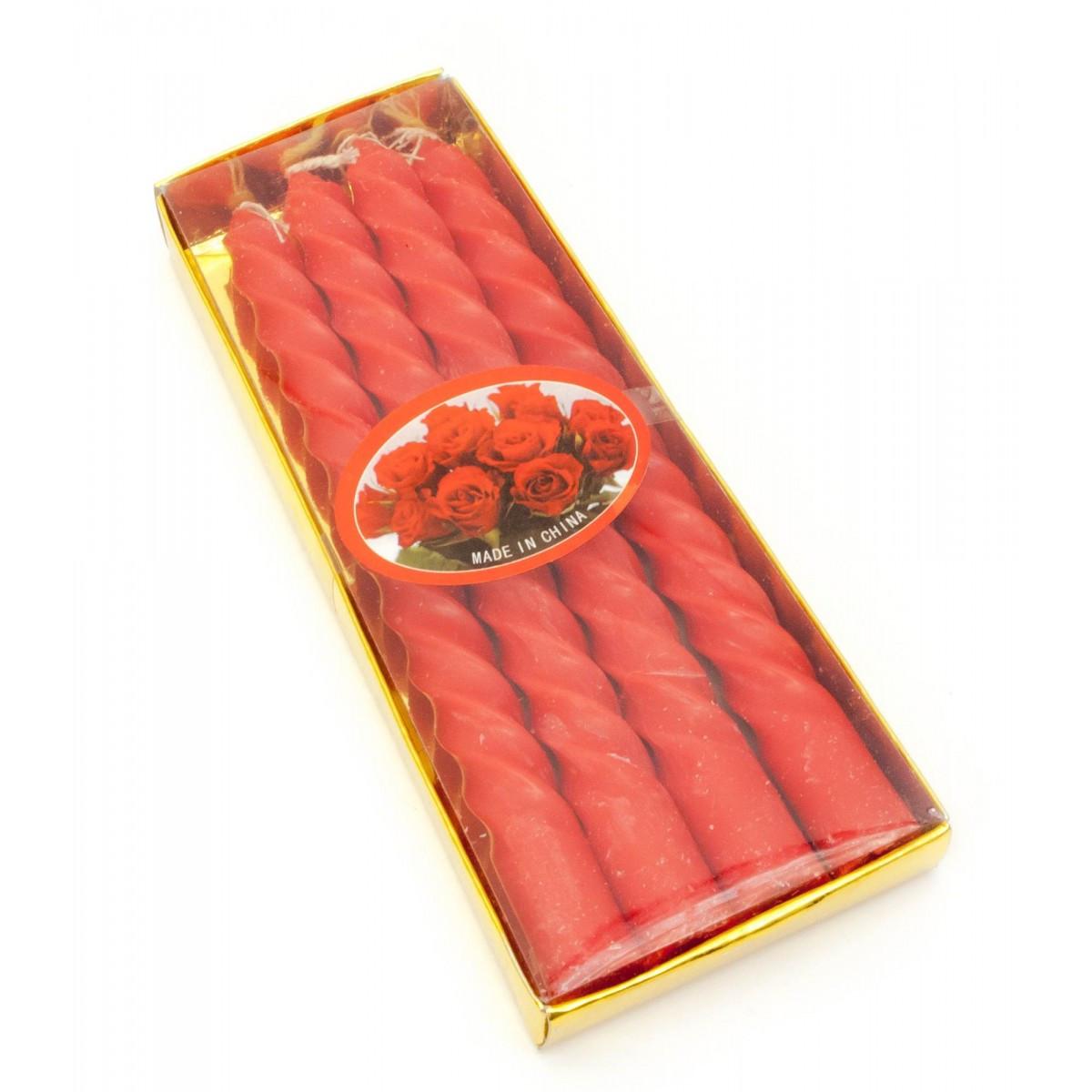Свечи столовые красные набор 4 шт