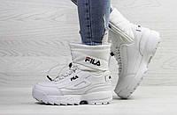 Ботинки женские Fila зимние на меху высокие молодежные стильные под джинсы в белом цвете, ТОП-реплика, фото 1