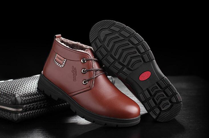 Теплые деловые мужские ботинки туфли