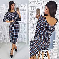 655c85f61b3 Платье красивое теплое миди из ангоры в клетку с вырезом на спине Smb2724
