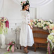 Женское льняное платье с вышивкой Роксолана белое, фото 2