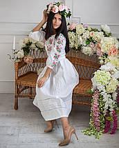 Женское льняное платье с вышивкой Роксолана белое, фото 3