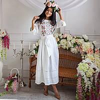 Женское льняное платье с вышивкой Роксолана белое 46 9f2f9afee32ae