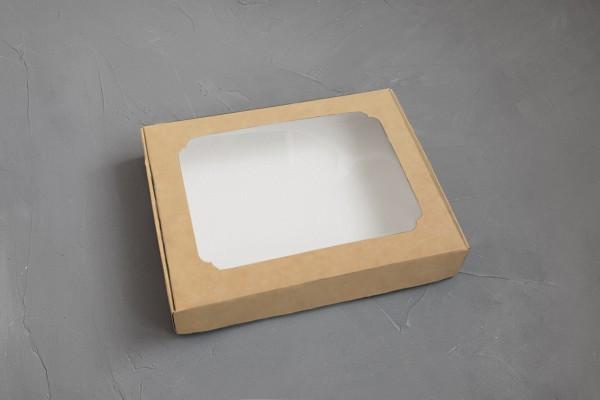 """Картонная коробка для пряников """"Крафтовая с окном 20*15*3 см""""( 5 шт)"""