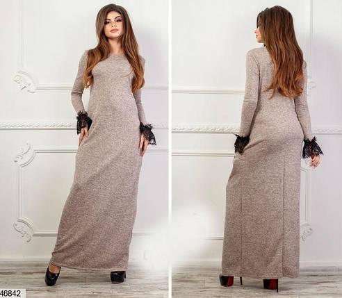 Демисезонное платье макси полуприталенное с длинным рукавом кружева ангора пудровое, фото 2