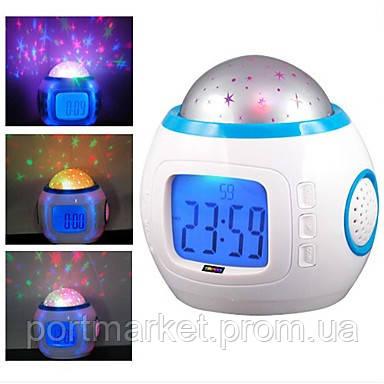 Музыкальные часы с проектором звездного неба UI1038  Ночник, проектор, будильник