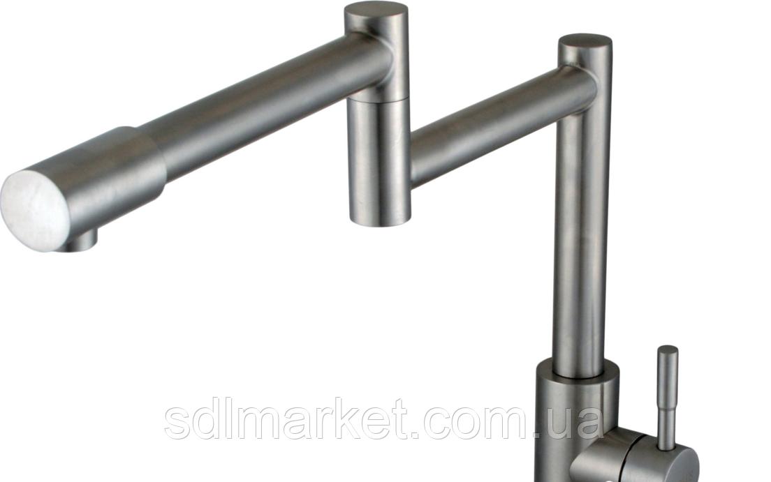 Смеситель для кухни GLOBUS LUX SUS-404 телескопический (нержавеющая сталь)