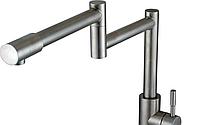 Смеситель для кухни GLOBUS LUX SUS-404 телескопический (нержавеющая сталь), фото 1