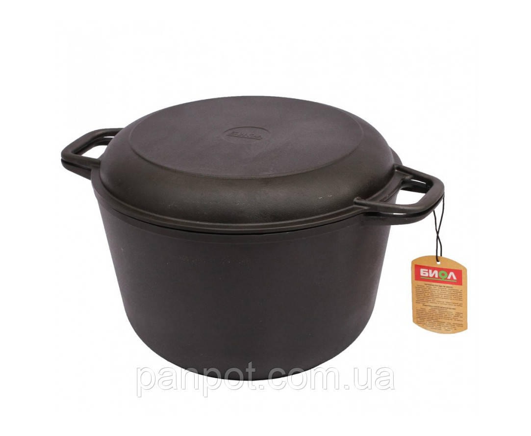 Кастрюля чугунная с крышкой-сковородой 3 л