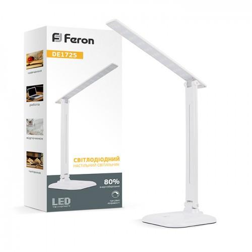 Світлодіодна лампа настільна Feron DE1725 9W біла 4000К (для навчання, роботи, для шиття) 3 рівня яскравості