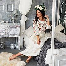 Женское льняное платье с вышивкой Роксолана молочное, фото 3