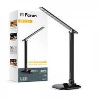 Настольная светодиодная лампа Feron DE1725 9W черная 4000К (для учебы, работы, для шитья) 3 уровня яркости