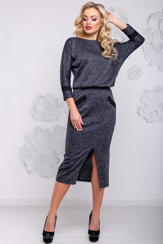 Женское элегантное платье, размеры от 44 до 50, синее, стильное, классическое, деловое, повседневное