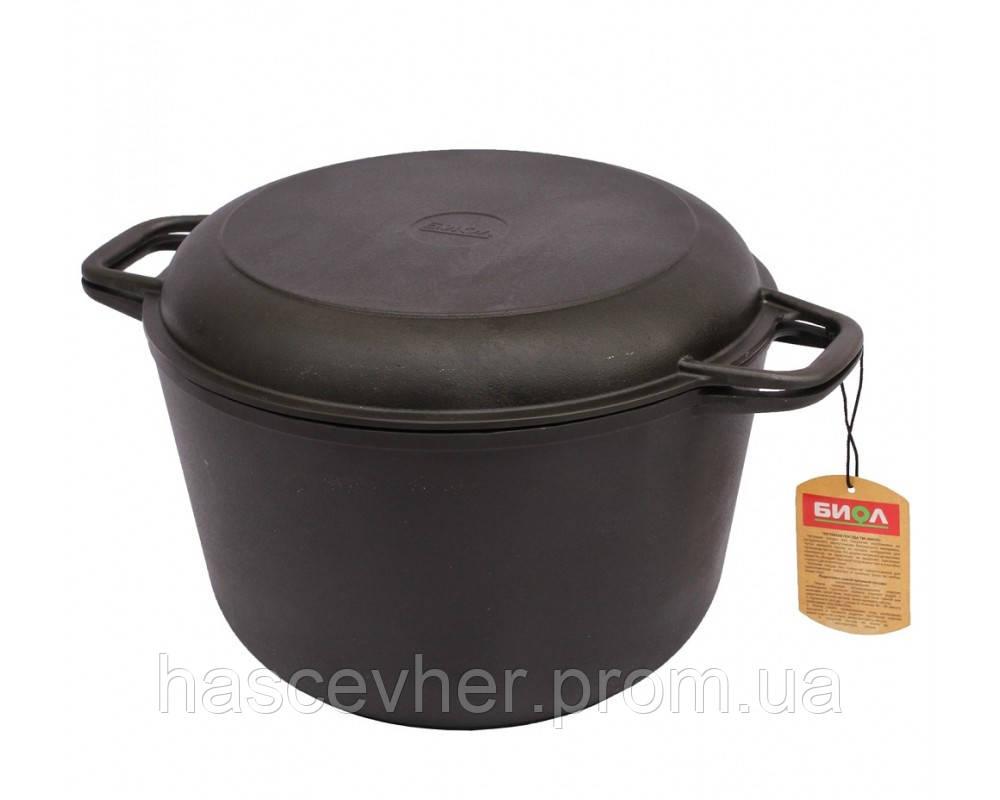 Кастрюля чугунная с крышкой-сковородой 4 л