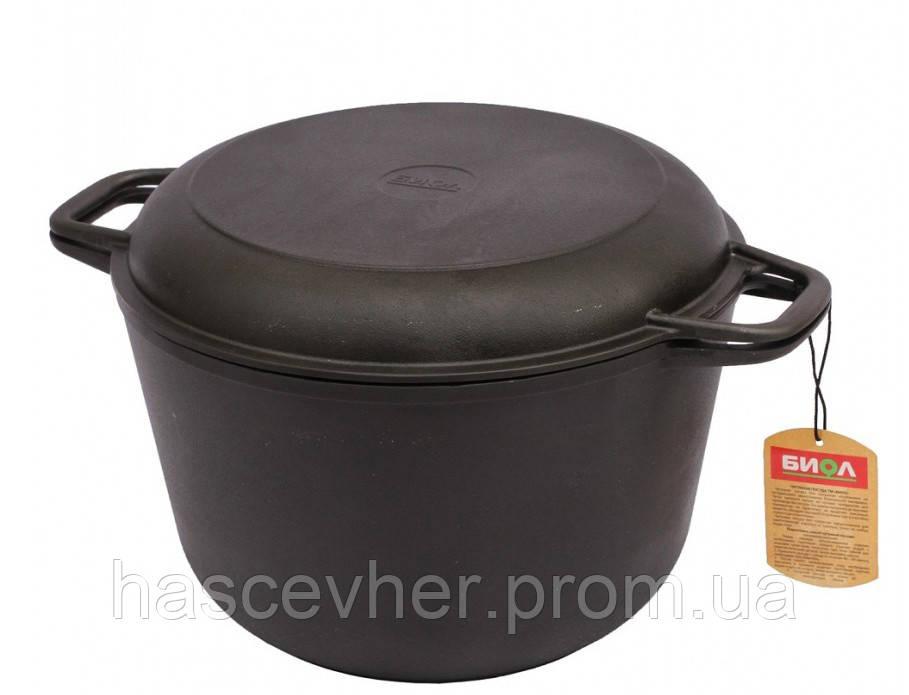 Кастрюля чугунная с крышкой-сковородой 6 л