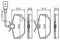 Тормозные колодки задние  Фольксваген Транспортер / CARAVELLEV/ ТранспортерV (пр-во BOSCH 0986494051)