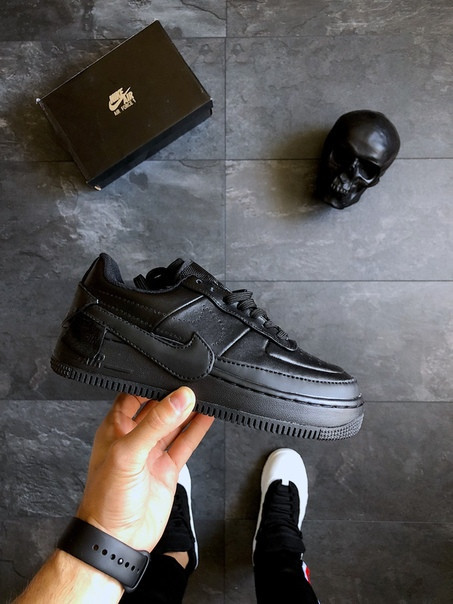 Женские Nike Air Force 1 Jester XX (Black/Black), Реплика люкс