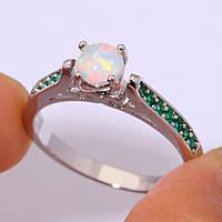 Огненный опал и изумруд кольцо с опалом и изумрудом в серебре 18 размер, фото 1