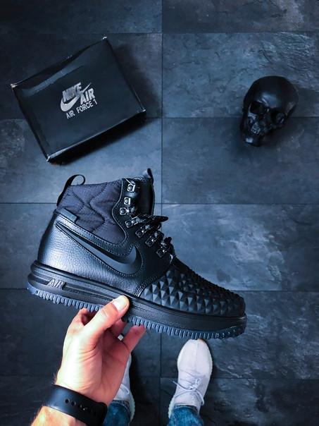 Мужские кроссовки Nike Lunar Force 1 Duckboot '17 (Black / Black – Anthracite) Реплика люкс