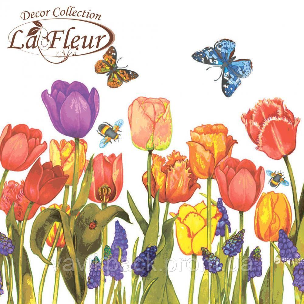 """Столовые салфетки ТМ """"La Fleur"""" Цветы под окном"""