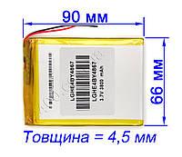 Аккумулятор для планшетов 3800 mAh 446690 мм 3,7в универсальный 3800мАч 3.7v 4.4*66*90, фото 1