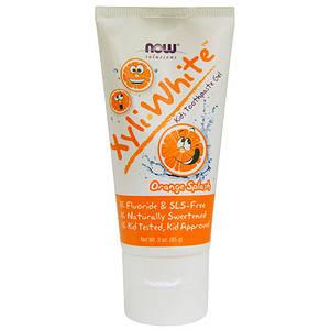 NOW Xyli White kids toothpaste gel 85 g orange splash Нау Детская зубная паста 85 г