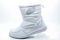 Белые сапоги в стиле Nike, с мехом (Найк)