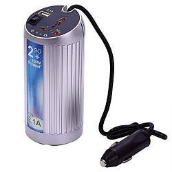 Инвертор напряжения в прикуриватель, 150Вт, 12/220, универсальная розетка, 1 USB выход, (форма банки), Blister
